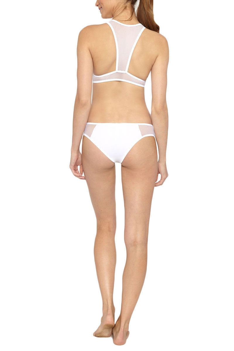 LES COQUINES Giselle Mesh Crop Top Bikini Top   White  Les Coquines Giselle Mesh Crop Bikini Top