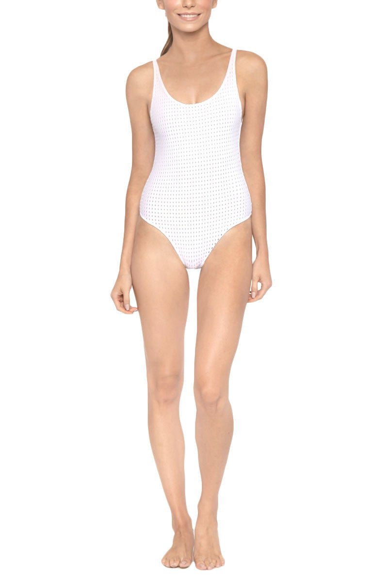 LES COQUINES Kaila Scoop Neck Open Back One Piece Swimsuit - Reef Blanc One Piece | Reef Blanc| Les Coquines Kaila One Piece