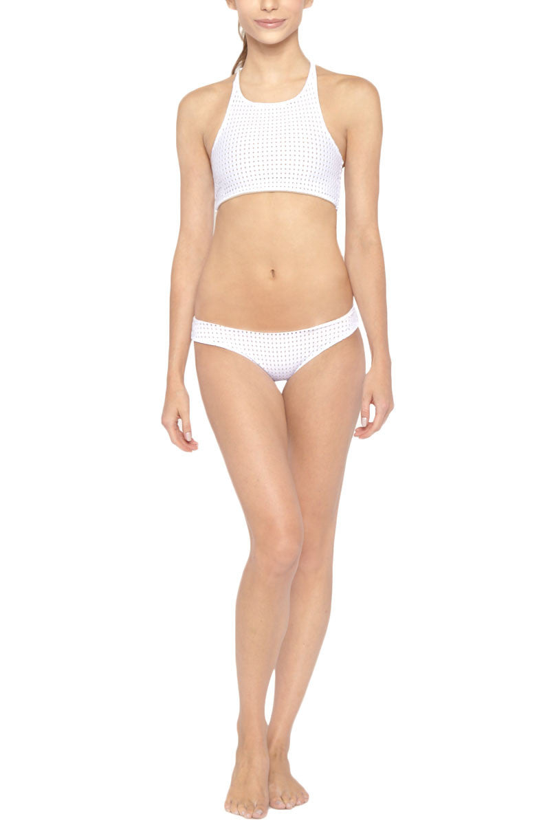 LES COQUINES Cara High Neck Mesh Bikini Top - Reef Blanc Bikini Top | Reef Blanc| Les Coquines Cara High Neck Bikini Top