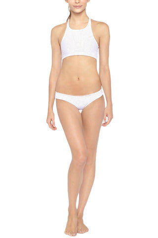 LES COQUINES Milo Mesh Low Rise Hipster Bikini Bottom - Reef White Bikini Bottom | Reef White| Les Coquines Milo Mesh Low Rise Hipster Bikini Bottom - Reef White Low-rise hipster style mesh cheeky bikini bottom in bright white. Athleisure-inspired perforated mesh and 2-layer construction Front View