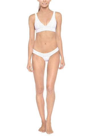 LES COQUINES James Low Rise Mesh Banded Bikini Bottom - Reef Blanc Bikini Bottom | Reef Blanc| Les Coquines James Banded Bikini Bottom