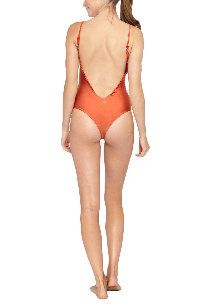 LES COQUINES Nia Deep V Open Back One Piece Swimsuit - Adobe Orange One Piece | Adobe Orange| Les Coquines Nia Deep V Open Back One Piece Swimsuit - Adobe Orange Minimalist deep scoop neck open back one piece swimsuit in adobe orange. The plunging scoop neckline shows the right amount of cleavage while still maintaining coverage. Back View
