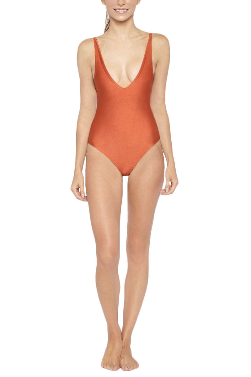 LES COQUINES Nia Deep V Open Back One Piece Swimsuit - Adobe Orange One Piece | Adobe Orange| Les Coquines Nia Deep V Open Back One Piece Swimsuit - Adobe Orange Minimalist deep scoop neck open back one piece swimsuit in adobe orange. The plunging scoop neckline shows the right amount of cleavage while still maintaining coverage. Front View