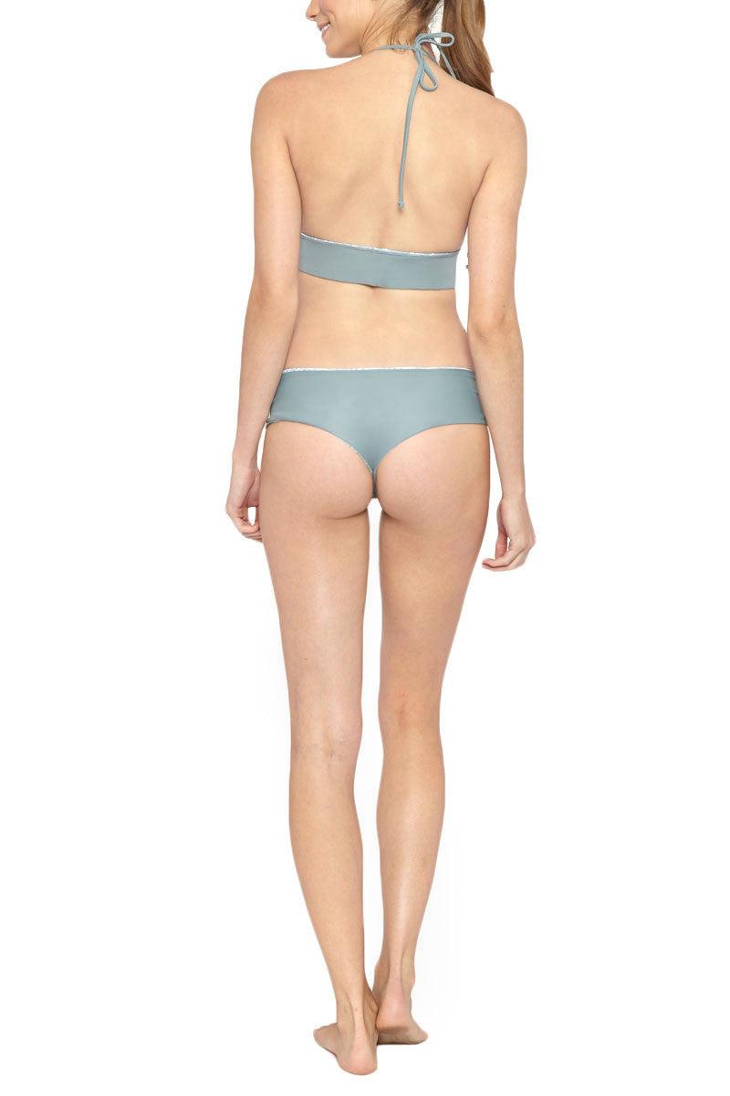 LES COQUINES Dani Reversible Halter Bikini Top - Moonstone/Wave Bikini Top | Moonstone/Wave| Les Coquines Dani Reversible Halter Bikini Top