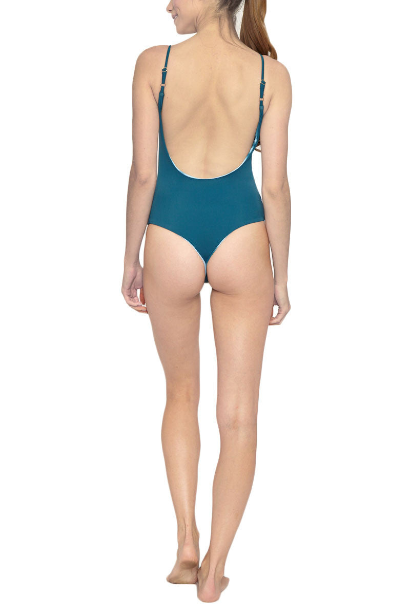 LES COQUINES Kaila Reversible Scoop Back One Piece Swimsuit - Ocean Blue Tie Dye Print/Fiji Blue One Piece | Ocean Blue Tie Dye Print/Fiji Blue| Les Coquines Kaila Reversible Scoop Back One Piece Swimsuit - Ocean Blue Tie Dye Print/Fiji Blue Scoop neck open back reversible maillot style one piece swimsuit in a serene deep blue ocean print. Fully reversible to deep teal Back View