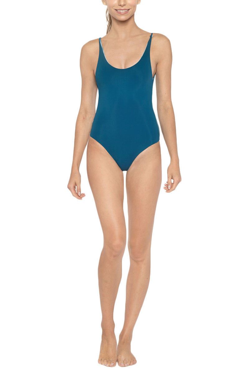 LES COQUINES Kaila Reversible Scoop Back One Piece Swimsuit - Ocean Blue Tie Dye Print/Fiji Blue One Piece | Ocean Blue Tie Dye Print/Fiji Blue| Les Coquines Kaila Reversible Scoop Back One Piece Swimsuit - Ocean Blue Tie Dye Print/Fiji Blue Scoop neck open back reversible maillot style one piece swimsuit in a serene deep blue ocean print. Fully reversible to deep teal Front View