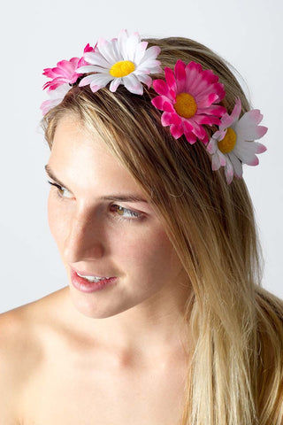 BIKINI.COM Light Pink & Hot Pink Daisy Floral Crown Hair Accessories | Light Pink / Hot Pink
