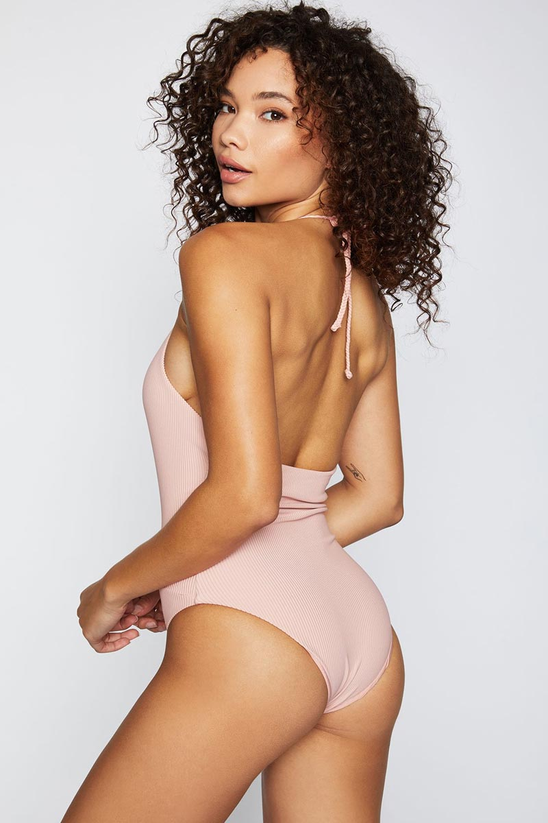 FRANKIES BIKINIS Lily One Piece - Vintage Rose One Piece   Vintage Rose Lily One Piece - Features:  Plunge deep v-neck one piece Vintage rose light pink ribbed fabric Halter neck string tie Moderate coverage bottom