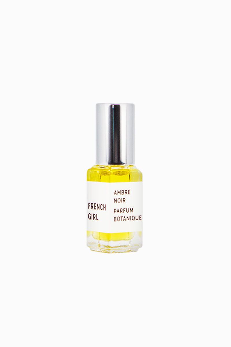 FRENCH GIRL ORGANICS Liquid Parfum - Ambre Noir - 5 ml Beauty | Ambre Noir| French Girl Organics Liquid Parfum - Ambre Noir Organic scent blends of Frankincense, Cardamom, Sandalwood, Vanilla, Amber, Cistus, and Vetiver Apply to pulse points Front View