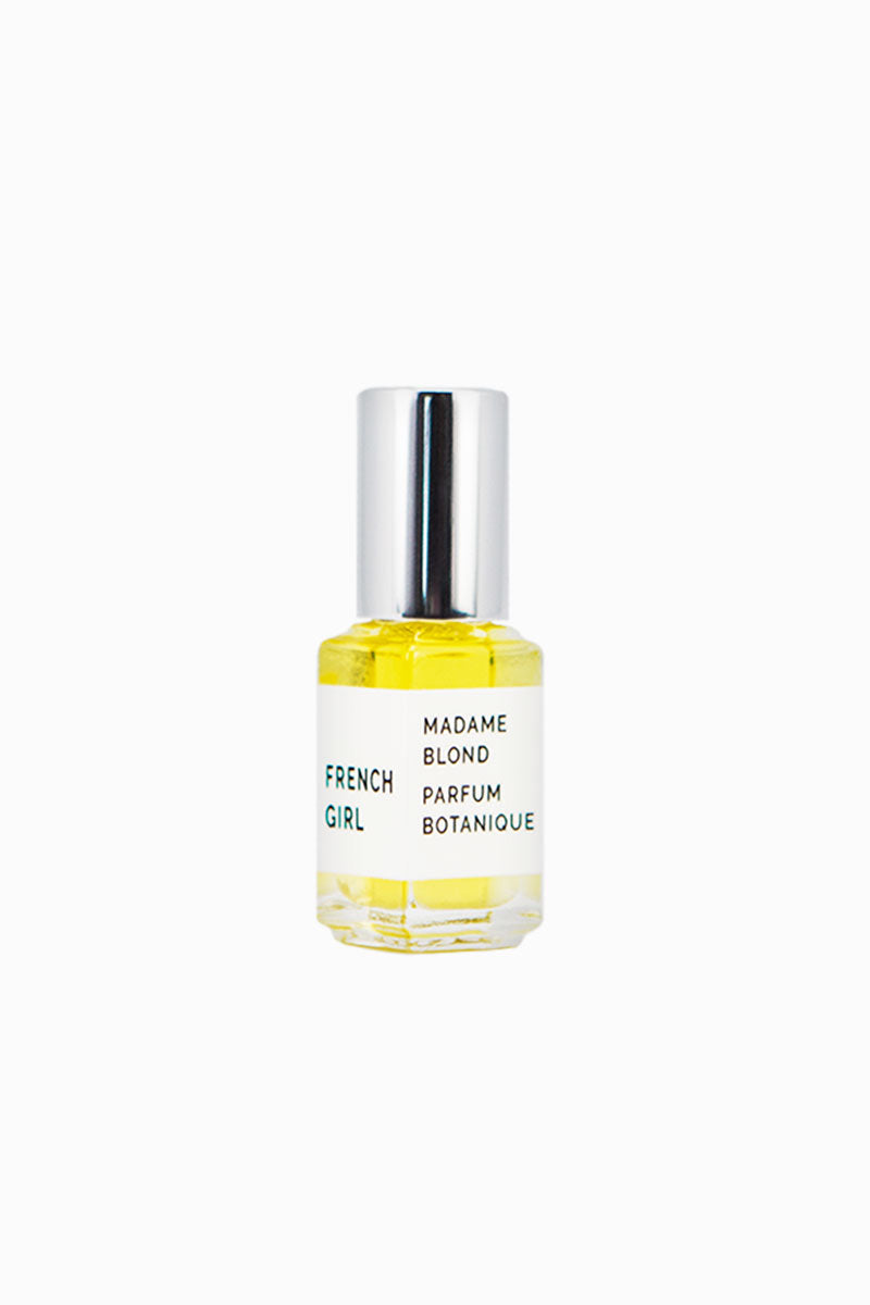 FRENCH GIRL ORGANICS Liquid Parfum - Madame Blond - 5 ml Beauty | Madame Blond| French Girl Organics Liquid Parfum - Madame Blond Organic scent blends of Bitter Orange, Lemon, Dominican Wild Orange, Rose, Thyme, Citrus, Patchouli, and Vetiver Apply to pulse points Front View