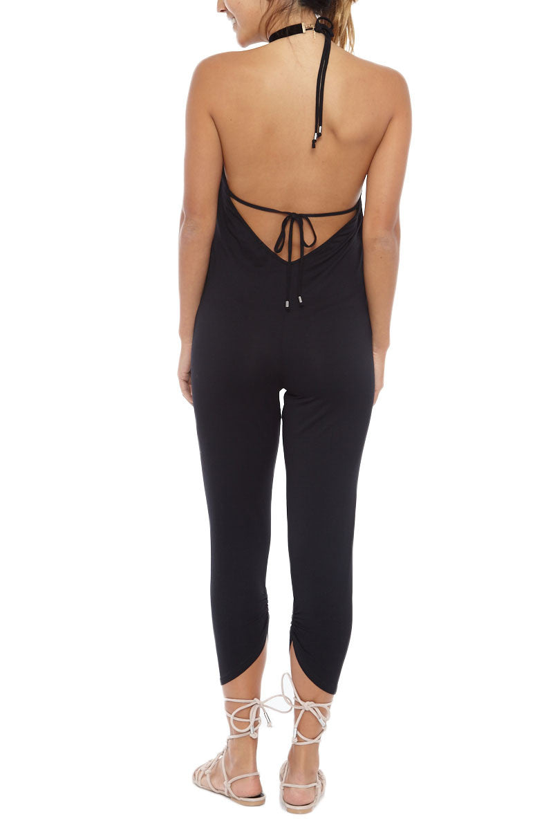 LIRA Everyday Scoop Neck Open Back Halter Jumpsuit - Black Romper | Black| Lira Everyday Playsuit