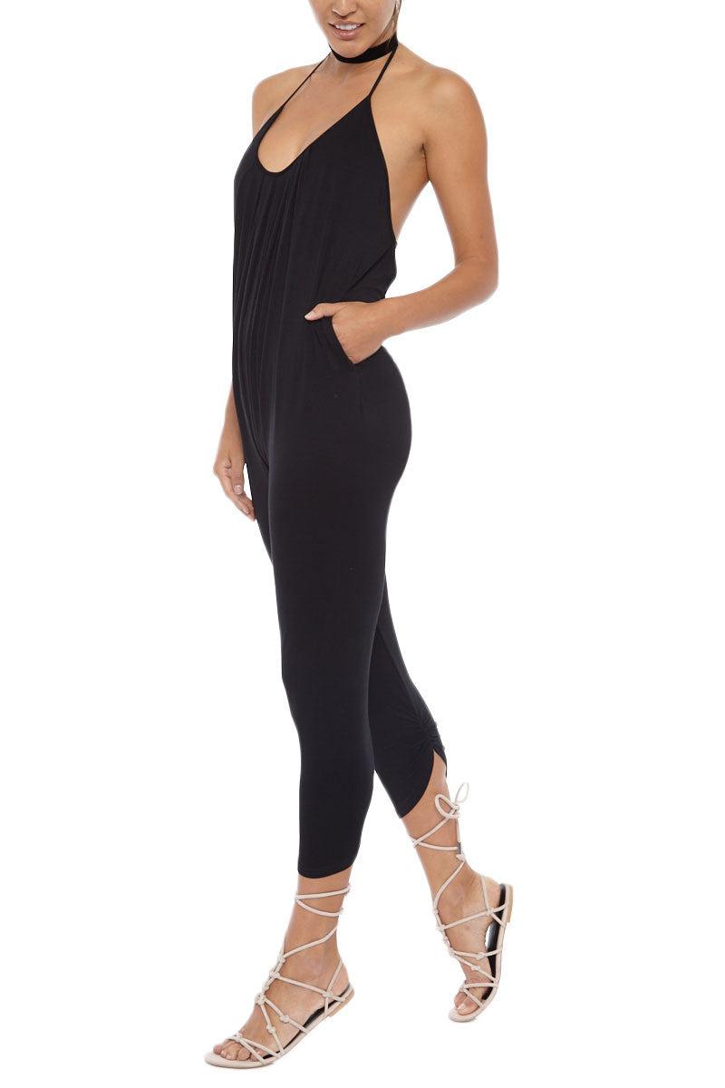 LIRA Everyday Scoop Neck Halter Jumpsuit - Black Romper | Black| Lira Everyday Playsuit