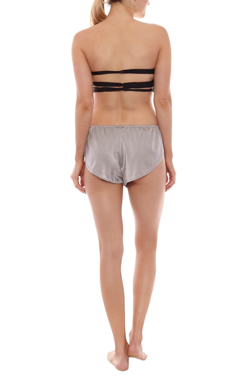 LIRA Lennox Side Tie Drawstring Shorts - Metallic Silver Shorts | Silver| Lira Lennox Swim Short
