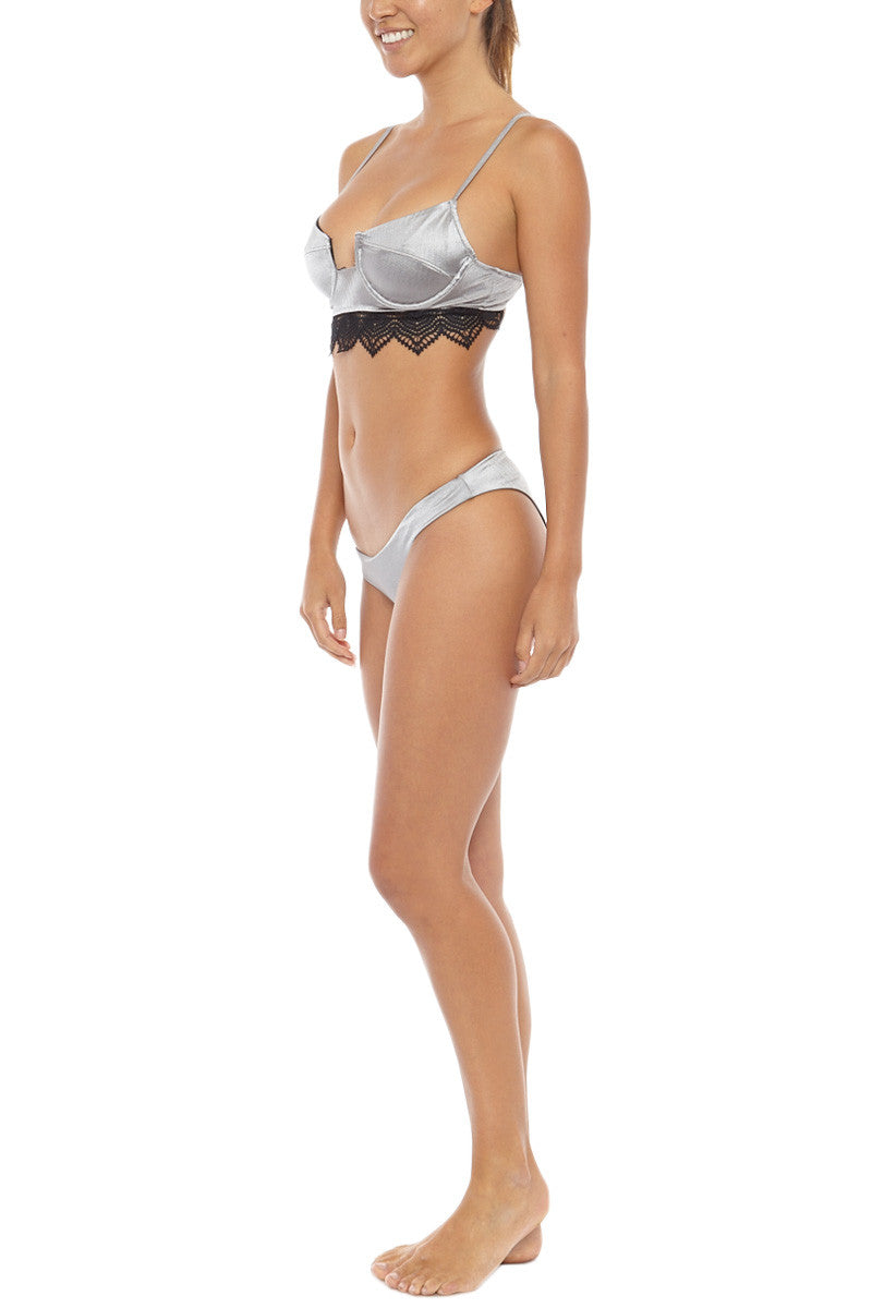 LIRA Penny Lane Lace Underwire Bikini Top - Silver Bikini Top | Silver| LIRA Penny Lane Lace Underwire Bikini Top - Silver Scoop neck underwire wide underbust lace banded bikini top in metallic silver. Touchably smooth brushed nylon fabric features a hint of sheen for a brilliant glow in the sun. Front View