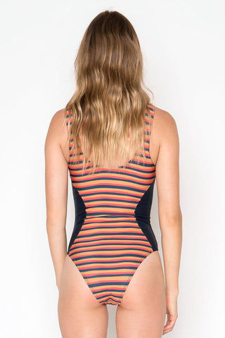 SEEA Lola Color Block Scoop Tank One Piece Swimsuit - Sunset Stripe Print/Navy Blue One Piece | Sunset Stripe Print/Navy Blue| Seea Lola Color Block Scoop Tank One Piece Swimsuit - Sunset Stripe Print/Navy Blue Classic tank-style one piece swimsuit. Multicolor horizontal stripe pattern. Navy color blocking at each side of the waist. Scoop back. High leg cut. Cheeky coverage to moderate coverage. Back View
