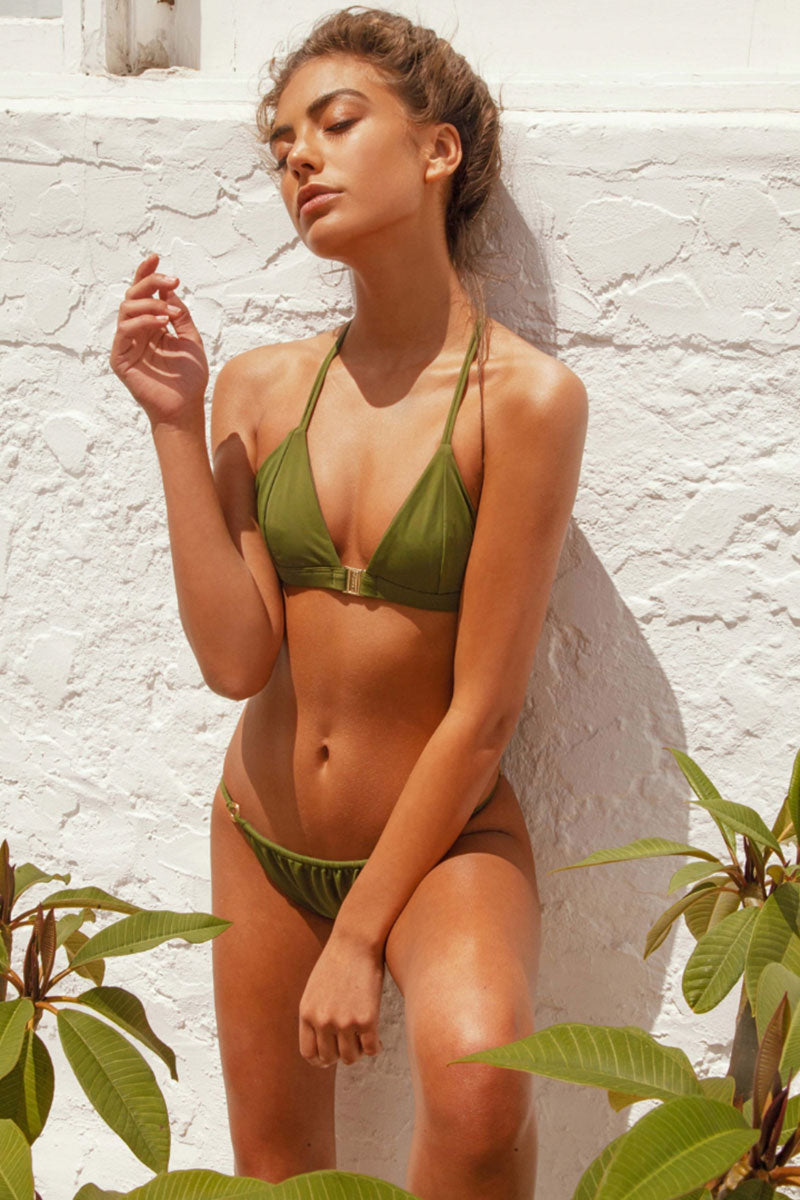 FELLA Louis The II Top - Olive Bikini Top | Olive | Fella Louis The II Top - Olive model front view