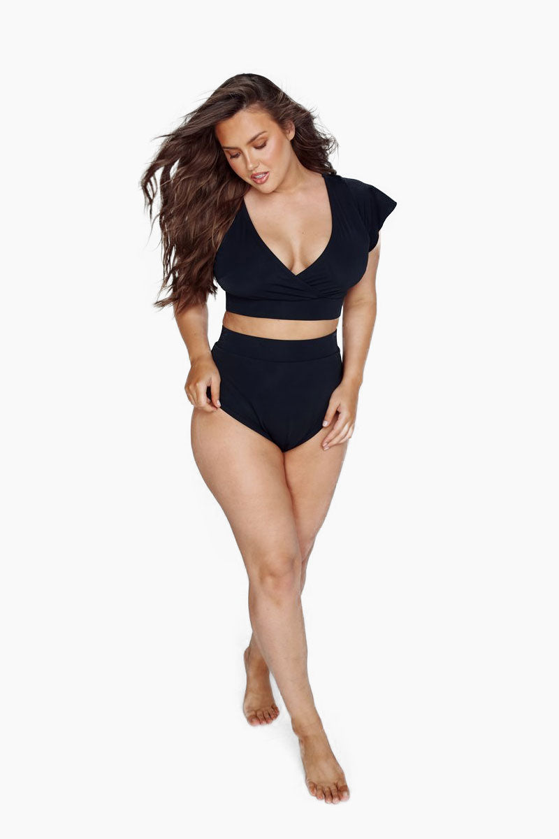 ALPINE BUTTERFLY BFF Short Sleeve Bikini Top (Curves) - Black Bikini Top |  Black| Alpine Butterfly BFF Short Sleeve Bikini Top (Curves) - Black Features:  Crop bikini top Flutter sleeves Thick elastic trim This top is made from super soft, thick spandex that sucks you in in all the right places front view