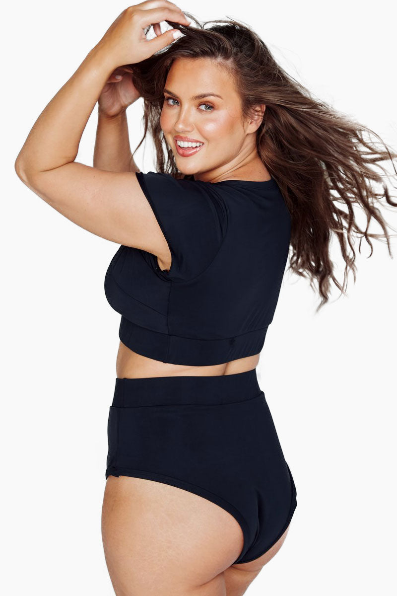 ALPINE BUTTERFLY Lover High Waisted Bikini Bottom (Curves) - Black Bikini Bottom | Black| Alpine Butterfly Lover High Waisted Bikini Bottom (Curves) - Black Features:  Cheeky bikini bottoms The flattering band across midriff This bottom is made from super soft and thick spandex Thick elastic trim Back View