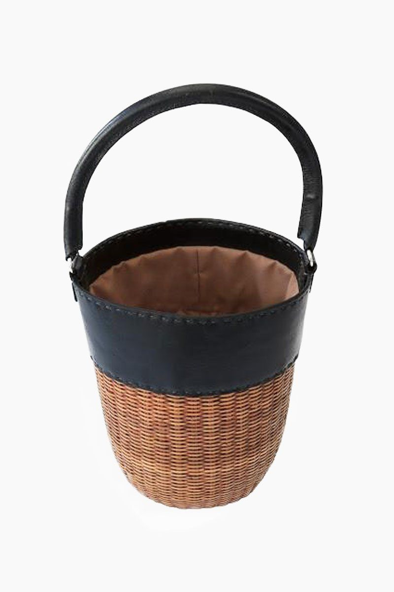 KAYU Lucie Bucket Tote - Black/Natural Bag | Black/Natural| Kayu Lucie Bucket Tote - Black/Natural. Features:  Leather-trimmed tote bag Top leather handle Drawstring closure Front View