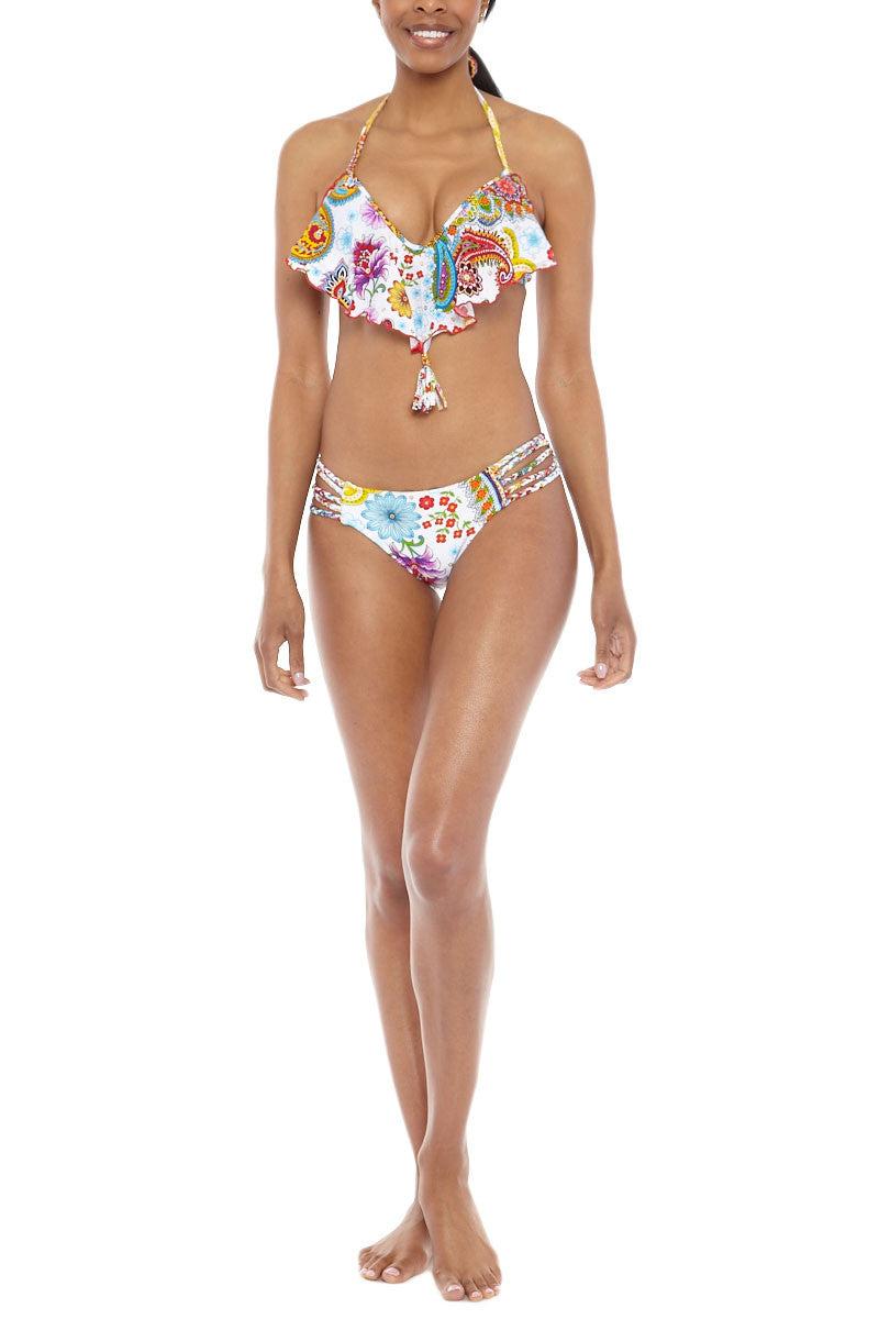 LULI FAMA Cascade Push Up Underwire Bikini Top - Multicolor White Paisley Bikini Top | Multicolor White Paisley|Cascade Underwire Bikini Top White Paisley Luli Fama