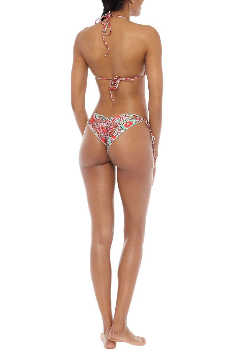 LULI FAMA Brazilian Tie Side Ruched Bottom Bikini Bottom   Multicolor Red Paisley Luli Fama Brazilian Tie Side Ruched Bikini Bottom