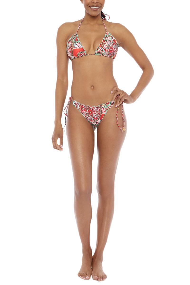 LULI FAMA Brazilian Tie Side Ruched Bottom Bikini Bottom   Red Paisley Luli Fama Brazilian Tie Side Ruched Bikini Bottom