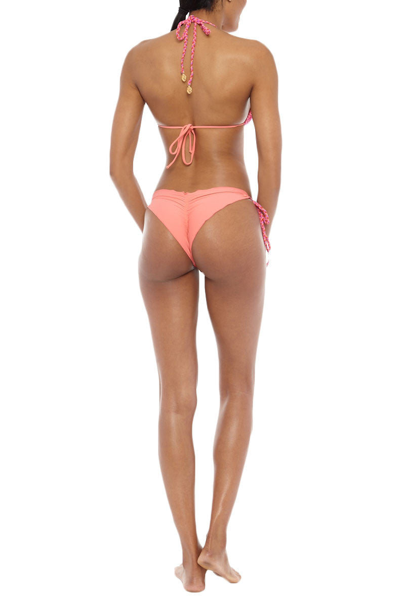 LULI FAMA Braided Triangle Bikini Top - Sunset Angel Print Bikini Top   Sunset Angel Print  Luli Fama Braided Triangle Bikini Top - Sunset Angel Print A sweet and chic triangle bikini top with braided adjustable ties that are finished off with gold accented trim. Adjustable halter and back ties allow for a more secure and comfortable fit. Padded cups Back View