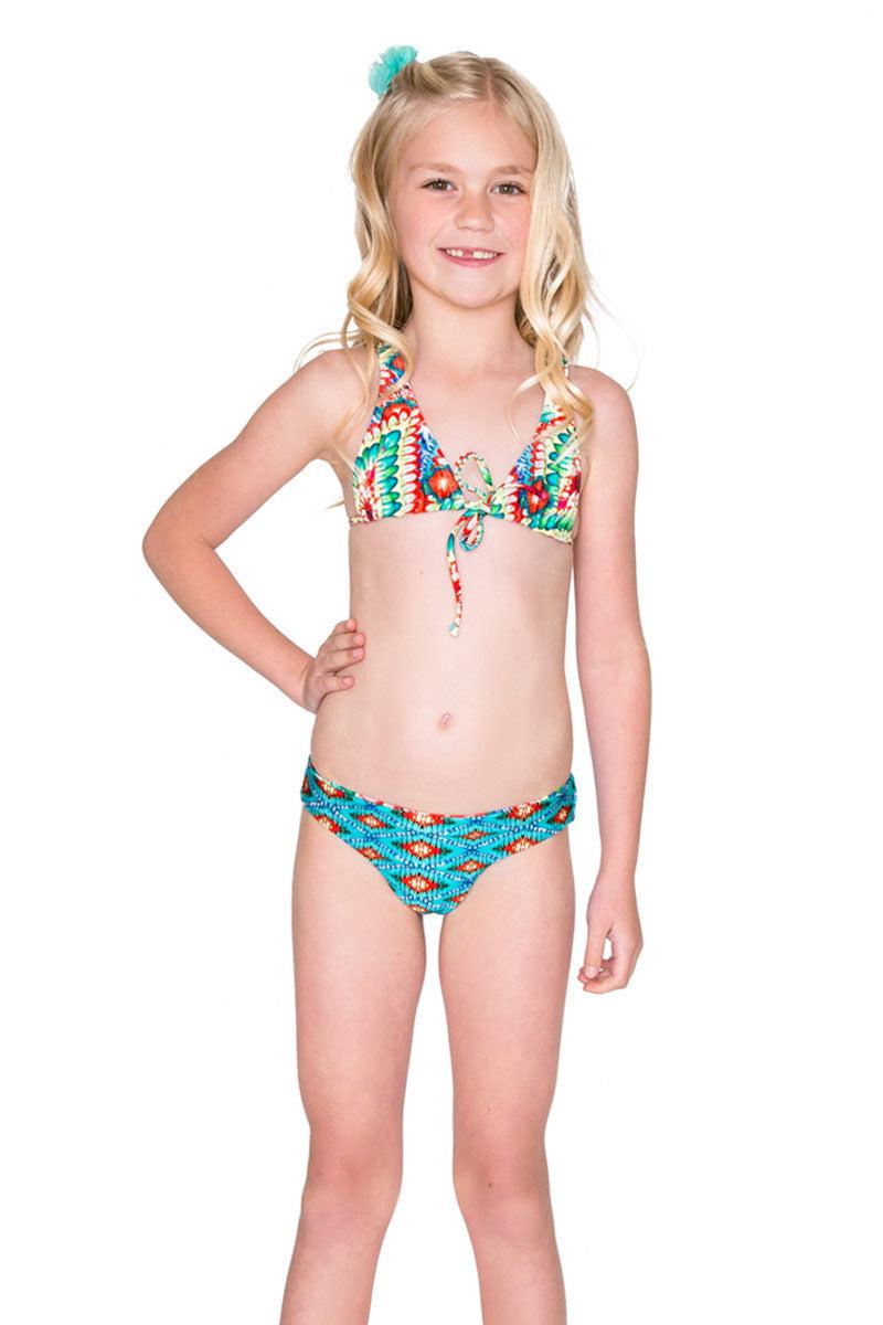 LULITA Criss Cross Halter Bikini Kids Bikini | Wild Heart| Luli Fama Criss Cross Halter Bikini Vibrant Multicolor Abstract Print Triangle Bikini Top Adjustable Ties at Front Crisscross Back Straps Reversible Bikini Bottom Fully Lined Pull-On Style Full Coverage