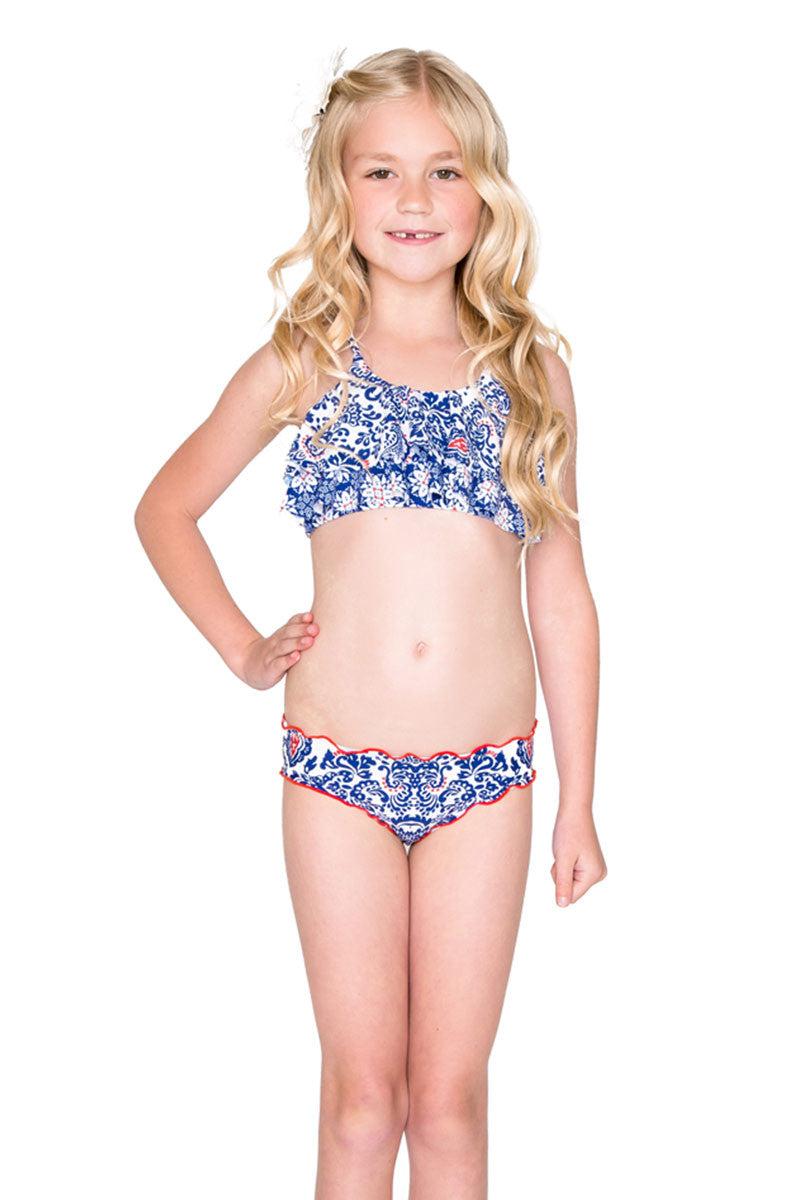 LULITA Ruffle Layered Bikini Kids Bikini   Naughty Girl Print  Luli Fama Ruffle Layered Bikini Blue and White Paisley Print Loose Ruffle Overlay Crisscross Non-Adjustable Back Straps Easy Pull-on Style Full Rear Coverage