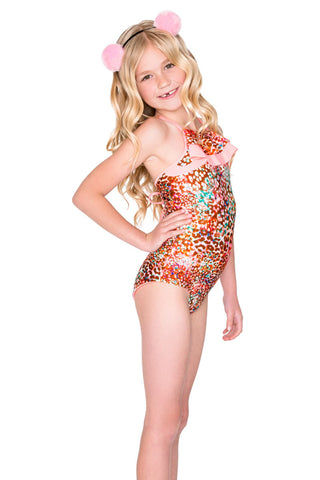 LULITA Ruffle Layered One Piece Swimsuit (Kids) - Untameable Animal Print Kids One Piece | Untameable Animal Print| Lulita Ruffle Layered One Piece Swimsuit (Kids) - Untameable Animal Print High Neckline Ruffle Overlay Multicolor Animal Print Crisscross Back Straps Full Rear Coverage Front View