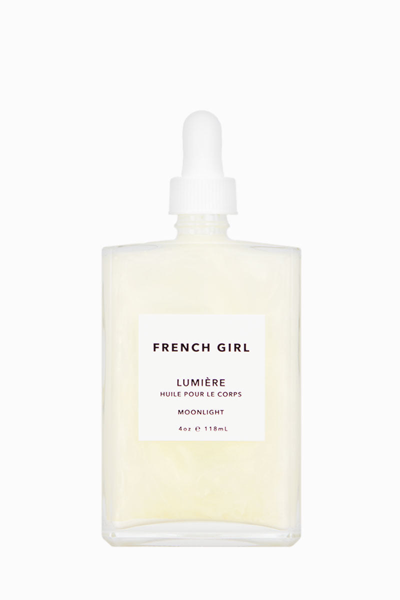 FRENCH GIRL ORGANICS Lumière Body Oil - Moonlight Beauty |  Moonlight| French Girl Organics Lumiere Body Oil - Moonlight A luxurious body oil infused with mineral oxides, pigments and nourishing essential oils to moisturize the skin while leaving a subtle shimmer & pearlescent glow Shake well and massage into skin until well absorbed Front View