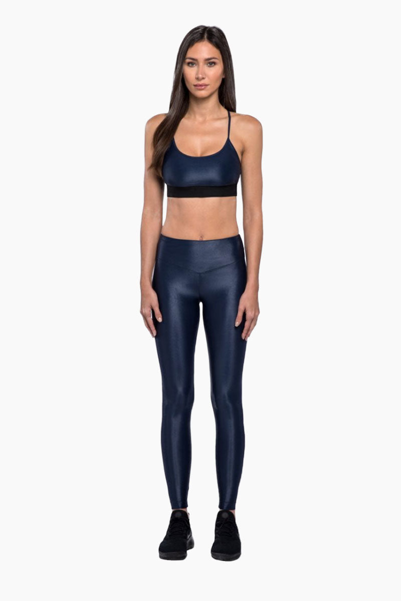KORAL Lustrous High Rise Legging - Midnight Blue Leggings | Midnight Blue|  KORAL Lustrous High Rise Legging Front View