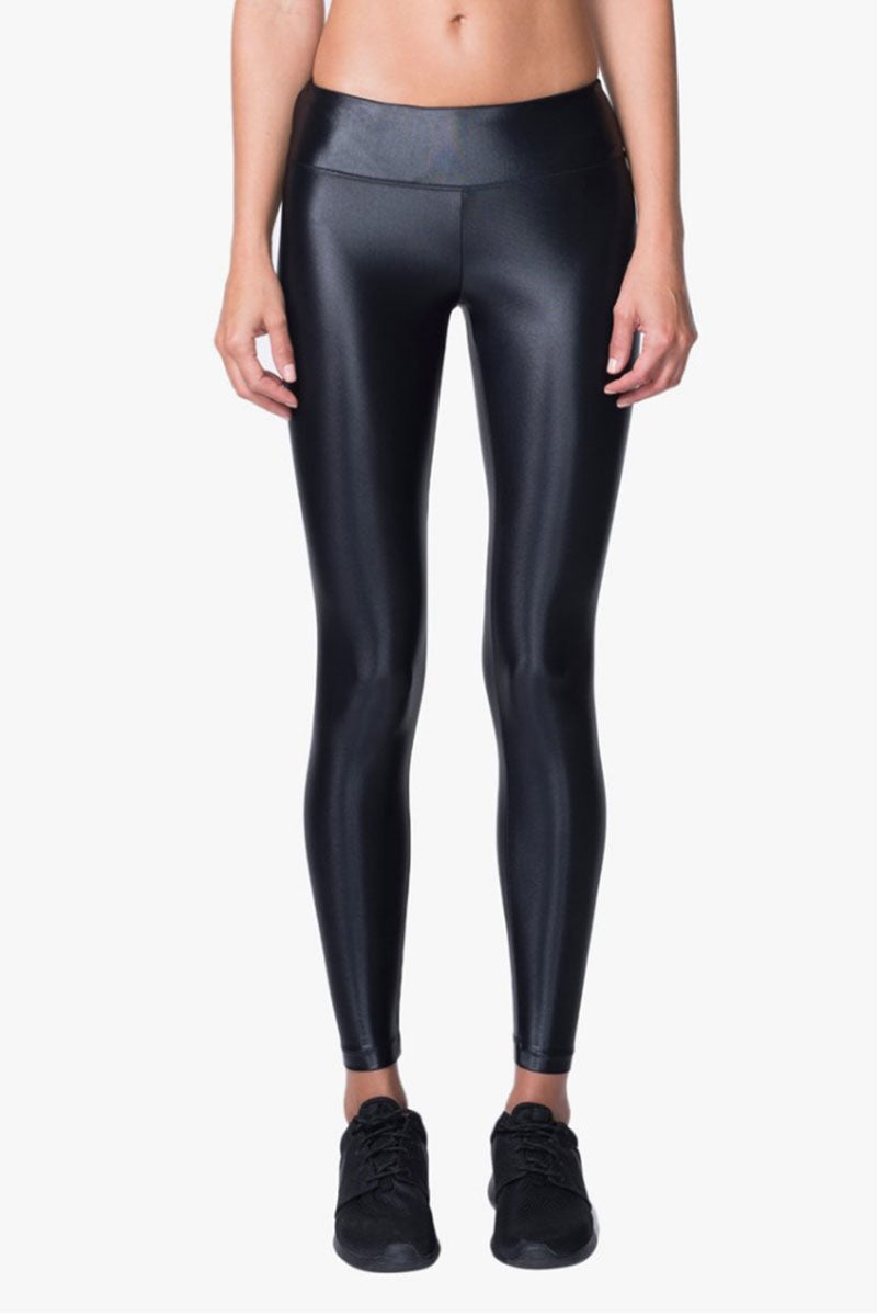 KORAL Lustrous Mid Rise Leggings - Black Leggings |  Black| Koral Lustrous Mid Rise Leggings - Black. Features:  Figure-forming legging Cropped just above the ankle H20-Friendly Recommended for medium performance Front View