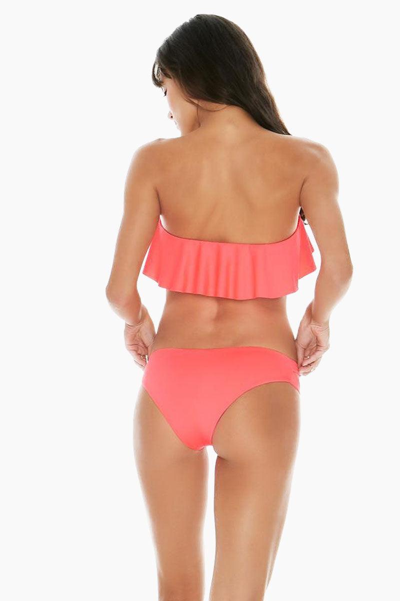 L SPACE Lynn Bikini Top - Neon Pink Bikini Top | Neon Pink| L Space Lynn Bikini Top Front View Strapless Flounce Ruffle Overlay Bikini Top Neon Pink Removable Padding