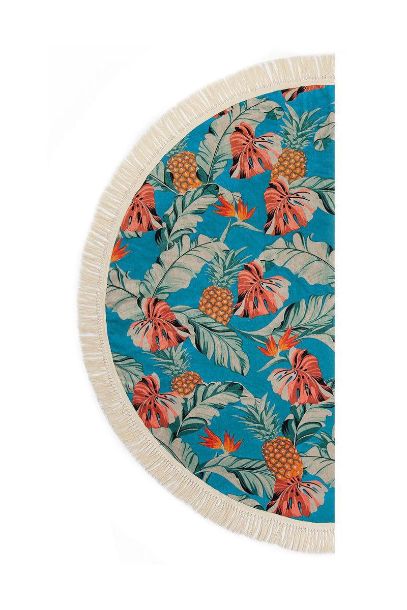 SLOWTIDE Makai Round Towel Towel | Makai| Slowtide Makai Round Towel Half View