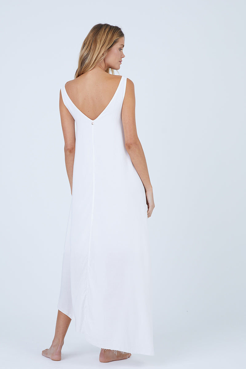 MALAI Moonlit Asymmetric Cover-Up Maxi Dress - White Dress | White| Malai Moonlit Dress - White. Features:  Cover up dress Asymmetrical hem detail Fully lined Made of 100% Viscose