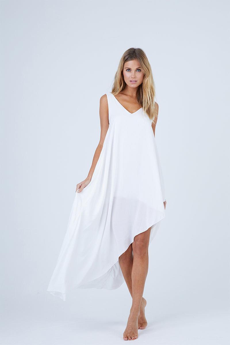 MALAI Moonlit Dress - White Dress   White  Malai Moonlit Dress - White. Features:  Cover up dress Asymmetrical hem detail Fully lined Made of 100% Viscose Front View