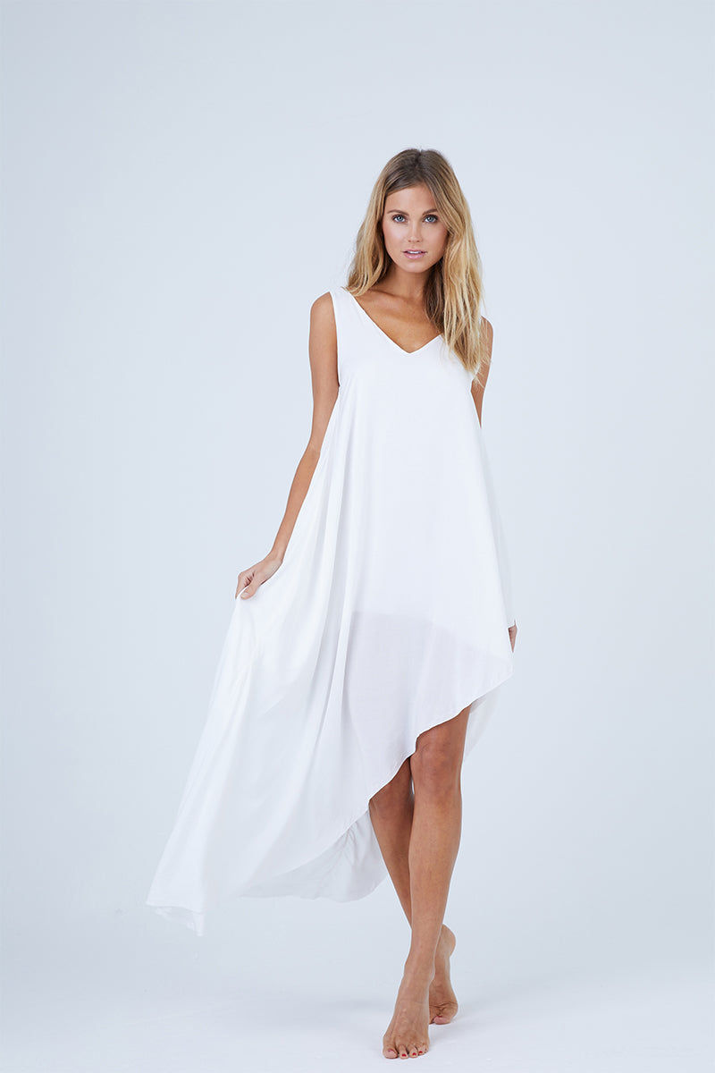 MALAI Moonlit Asymmetric Cover-Up Maxi Dress - White Dress | White| Malai Moonlit Dress - White. Features:  Cover up dress Asymmetrical hem detail Fully lined Made of 100% Viscose Front View