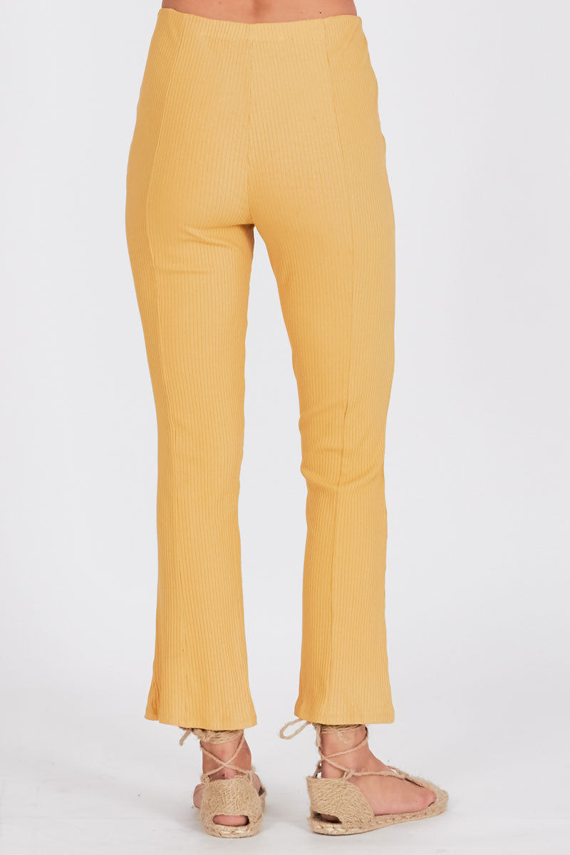 AMUSE SOCIETY Mamba High Waist Pants - Sunray Yellow Pants | Sunray Yellow| Amuse Society Mamba High Waist Pants - Sunray Yellow High waist pants in sunray yellow  Back View