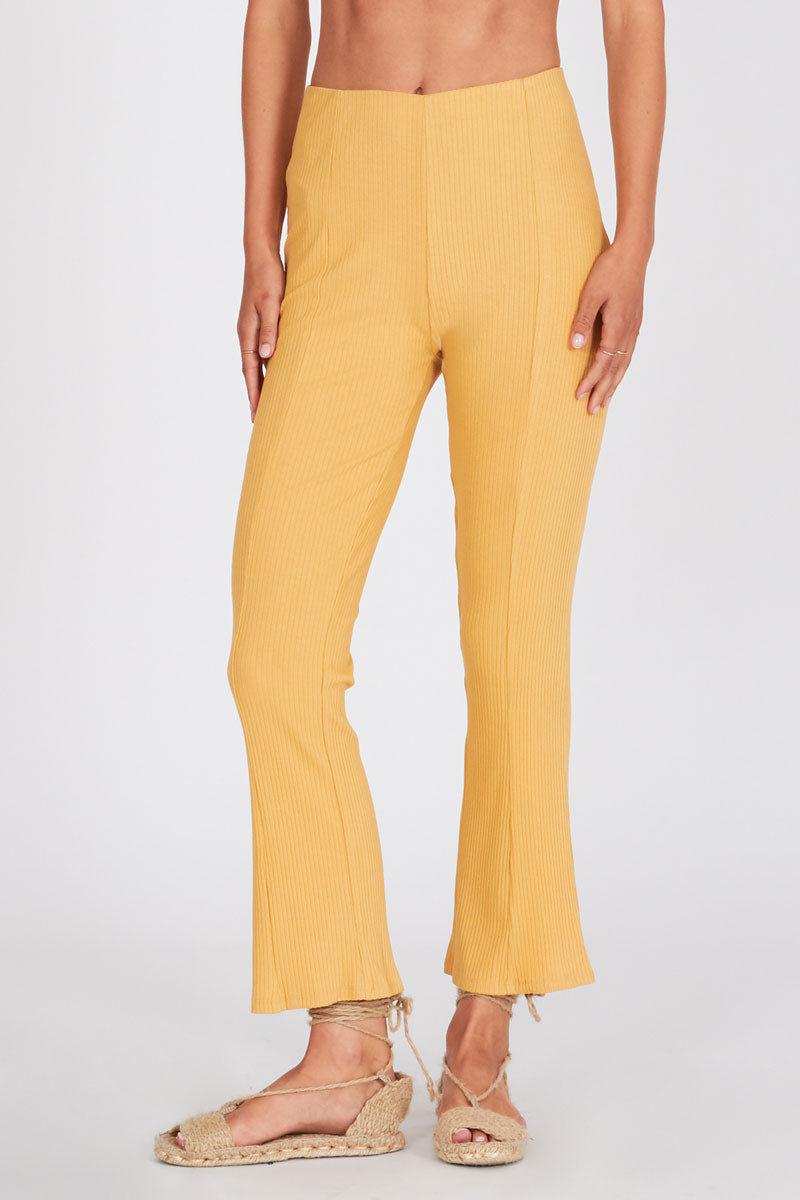 AMUSE SOCIETY Mamba High Waist Pants - Sunray Yellow Pants | Sunray Yellow| Amuse Society Mamba High Waist Pants - Sunray Yellow High waist pants in sunray yellow  Front View