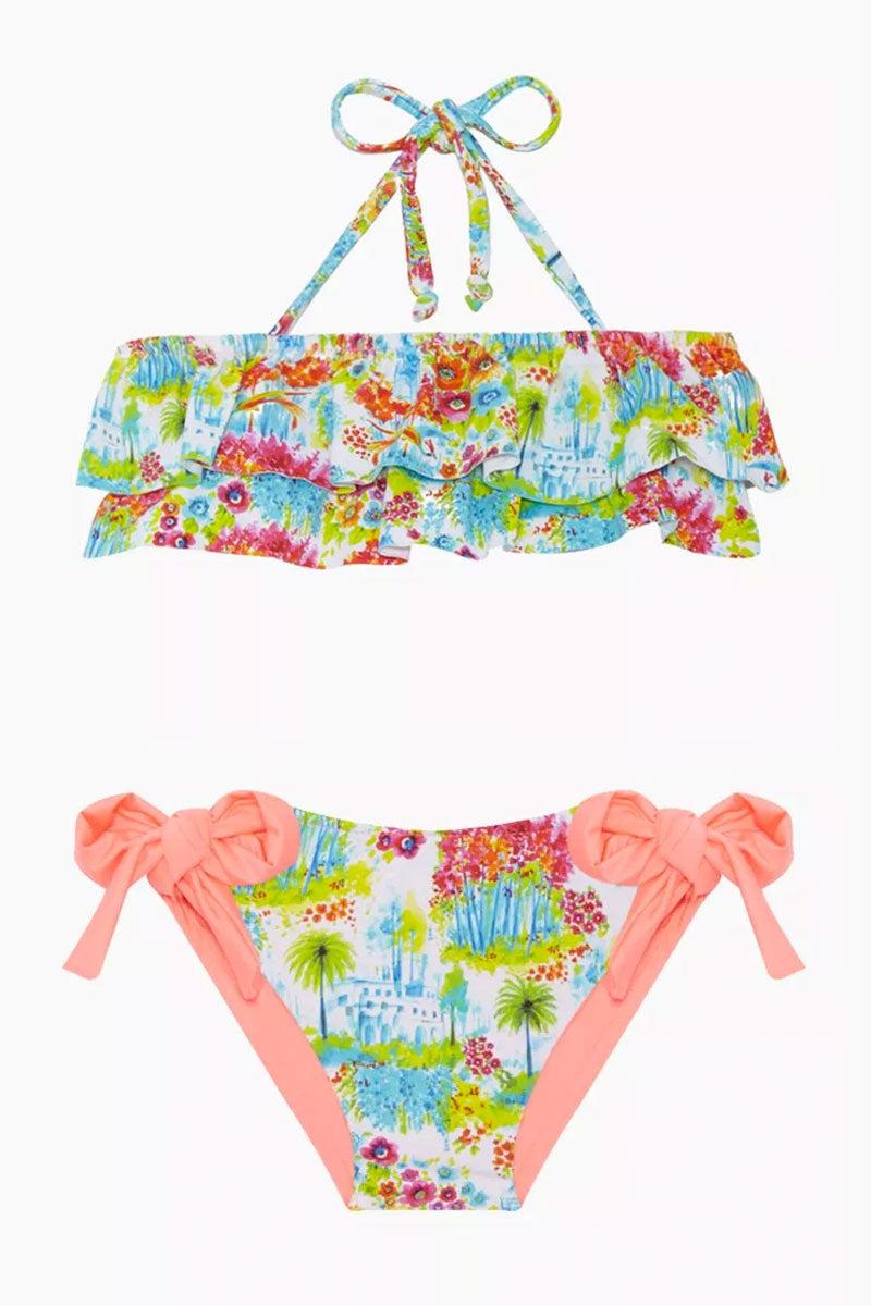 MAYLANA KIDS Kerri Bandeau Bikini Set (Kids) - Botanic Gardens Kids Bikini | Botanic Gardens| Maylana Kids Kerri Bandeau Bikini Set (Kids) - Botanic Gardens Halter neck tie Bandeau style Ruffle style