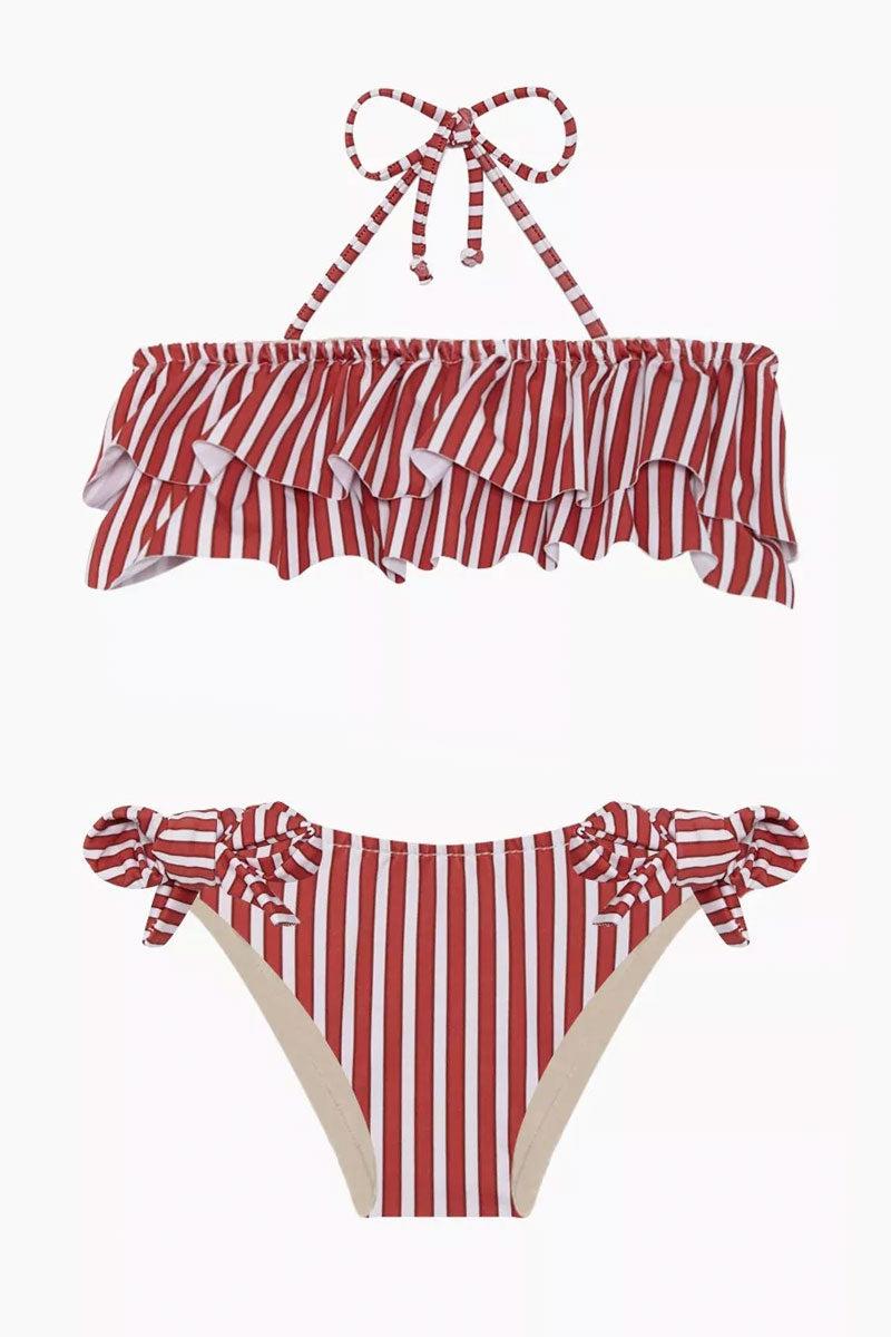 MAYLANA KIDS Kerri Bandeau Bikini Set (Kids) - Red Stripes Kids Bikini | Red Stripes | Maylana Kids Kerri Bandeau Bikini Set (Kids) - Red Stripes Halter neck tie Bandeau style Ruffle style  Tie side bottom