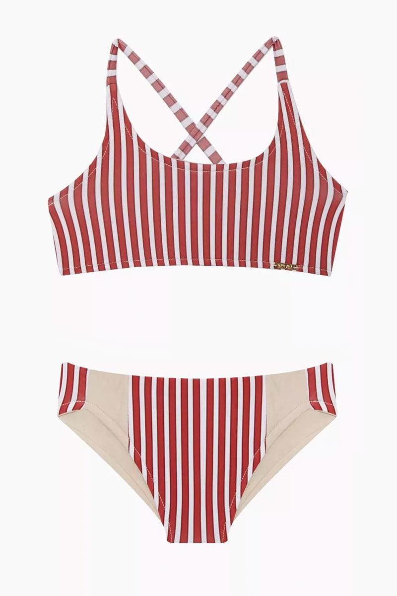 MAYLANA KIDS Marvie Criss Cross Back Bikini Set (Kids) - Red Stripes Kids Bikini | Red Stripes | Maylana Kids Marvie Criss Cross Back Bikini Set (Kids) - Red Stripes Kid's Bikini Set Criss Cross Back Detail Hipster Bottom Ruched Back