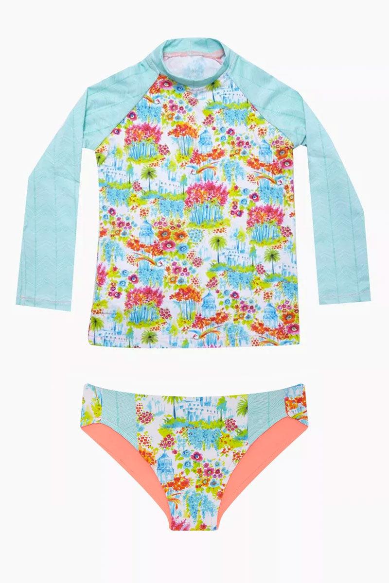 MAYLANA KIDS Rasha Bikini Set (Kids) - Botanic Gardens Kids Bikini | Botanic Gardens| Maylana Kids Rasha Bikini Set (Kids) - Botanic Gardens Features: Kid's Rashguard & Bikini Bottom