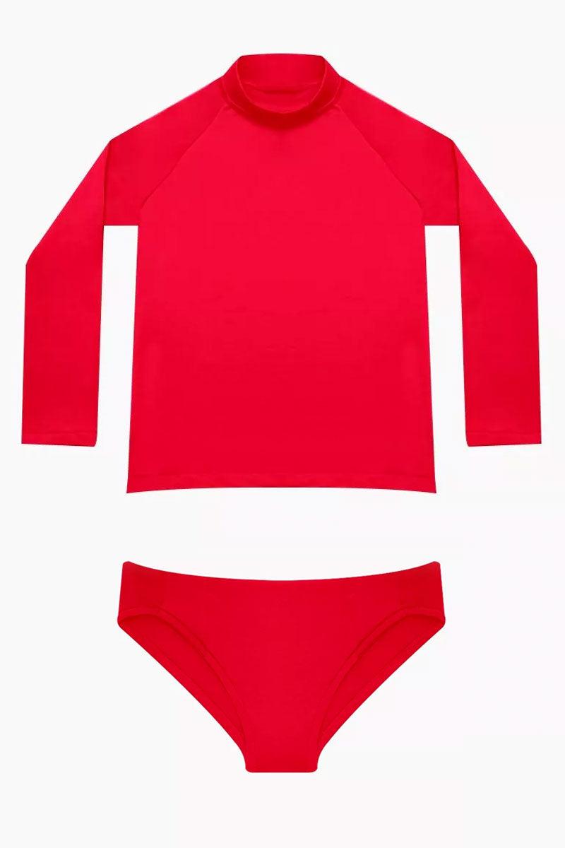 MAYLANA KIDS Rasha Bikini Set (Kids) - Cherry Red Kids Bikini | Cherry Red| Maylana Kids Rasha Bikini Set (Kids) - Cherry Red Features: Kid's Rashguard & Bikini Bottom  High Neck Longsleeves  Mid Rise Bottom