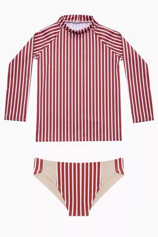 MAYLANA KIDS Rasha Bikini Set (Kids) - Red Stripes Kids Bikini | Red Stripes | Maylana Kids Rasha Bikini Set (Kids) - Red Stripes Features: Kid's Rashguard & Bikini Bottom  High Neck Longsleeves  Mid Rise Bottom
