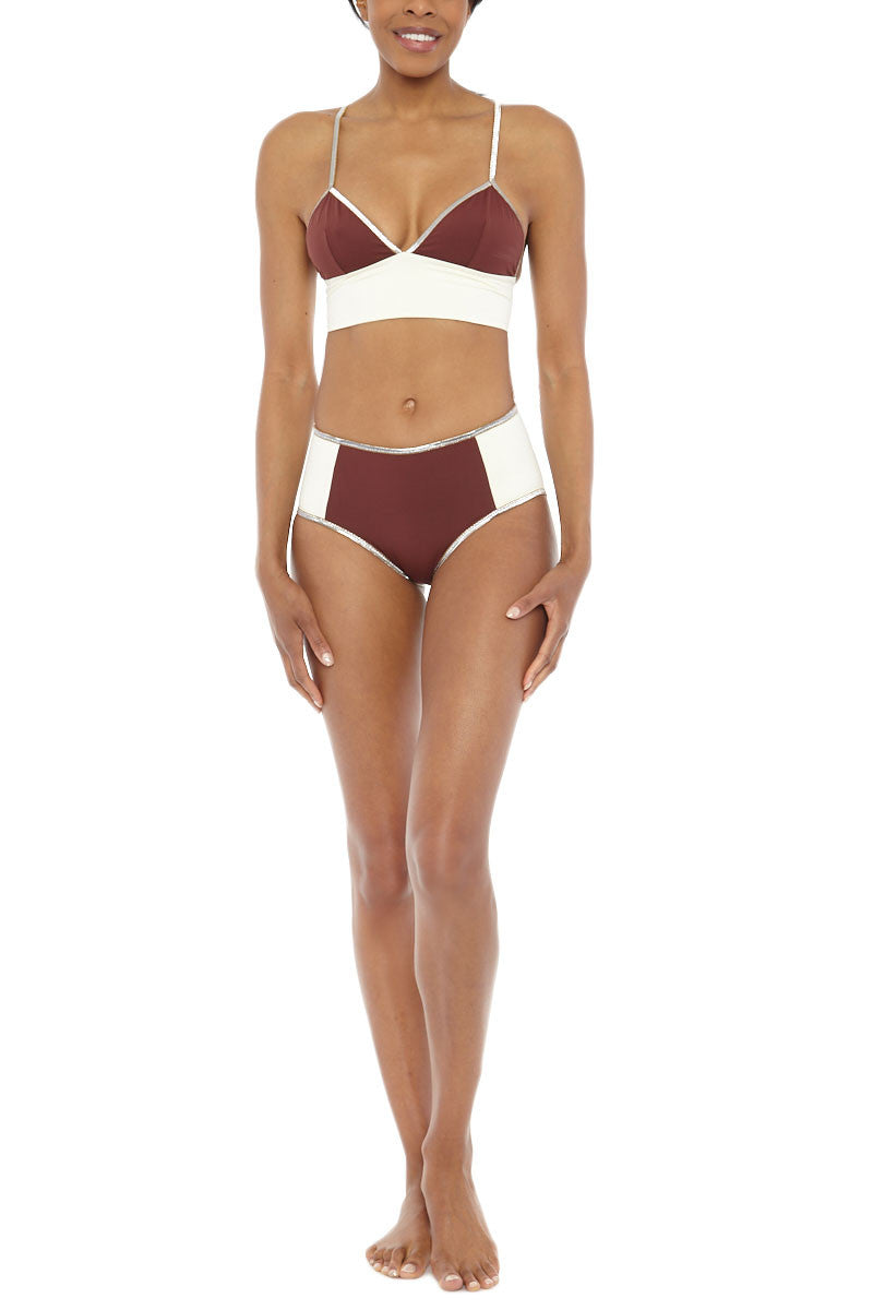 MYMARINI Bloc Shine Top Bikini Top   Wood White  MYMARINI Bloc Shine Bikini Top