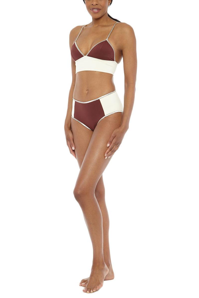 MYMARINI Bloc Shine Bottom Bikini Bottom | Wood White| MYMARINI Bloc Shine Bikini Bottom