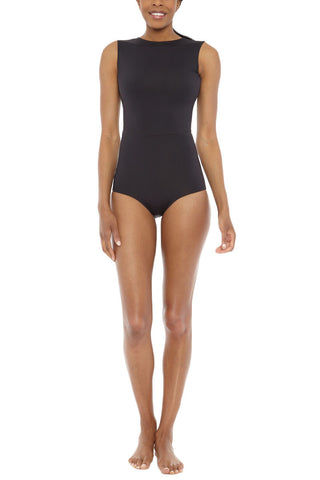 MYMARINI Outfit Reversible High Neck Sleeveless One Piece Swimsuit- Black/Navy Blue One Piece | Black/Navy Blue|MYMARINI Outfit Reversible High Neck Sleeveless One Piece Swimsuit- Black/Navy Blue Reversible design with a seam along the natural waist offers minimal style with maximum design. High neck with slim ribbon ties at the neck creates an elegant keyhole back cut out. Front View