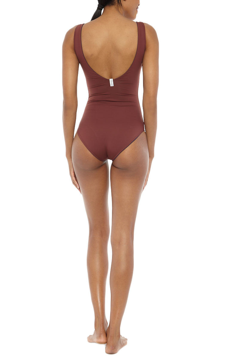 MYMARINI Pure Reversible Scoop High Cut One Piece Swimsuit - Navy Blue/Rosewood Red One Piece | Navy Blue/Rosewood Red |Pure Reversible Scoop High Cut One Piece Swimsuit - Navy Blue/Rosewood Red LE:  Brick red reversible to navy blue scoop neck one piece swimsuit. Made of high-quality sustainable fabric high cut leg   Back View